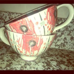 Anthropologie pink gray pedestal tea cups mug